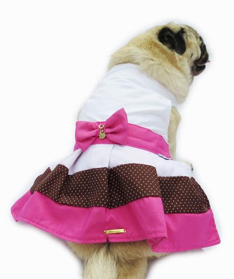 Vestido De Cachorro/ Gato Fashion Rosa Com Branco + Laço
