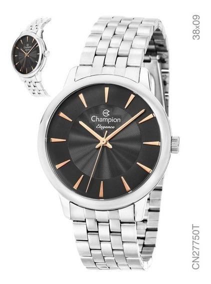 Relógio Champion Feminino Prata Cn27750t Fundo Preto