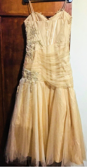 Vestido De Festa Bordado Cor Champanhe
