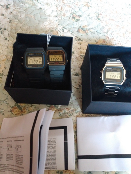 3 Relógios - Casio F91w Série Ouro/prata E A158