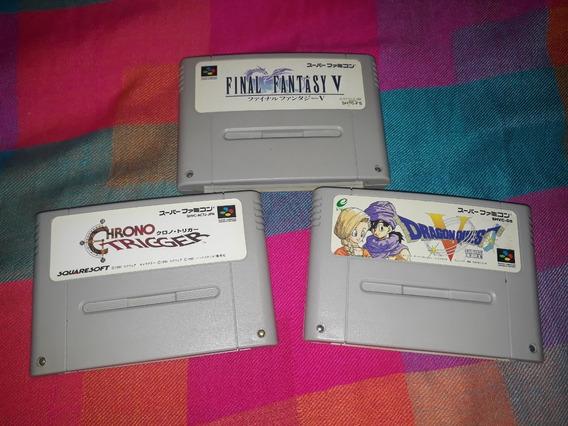Lote Com 3 Cartuchos Originais Super Famicom Chrono Trigger