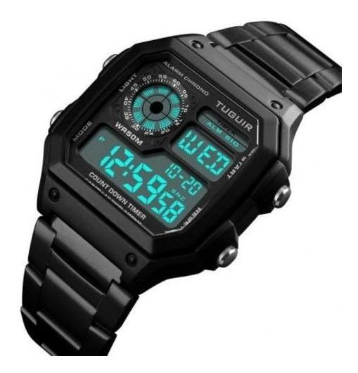 Relógio Unissex Tuguir 1335 Pulseira Em Aço Retro Digital