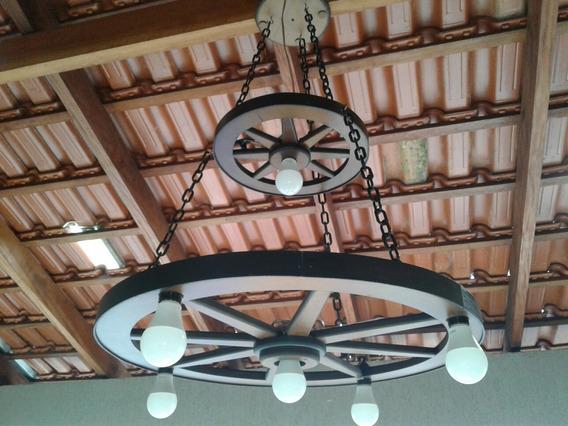 Luminária Roda De Carroça Grande ,rústico 6 Bocais 2 Andares