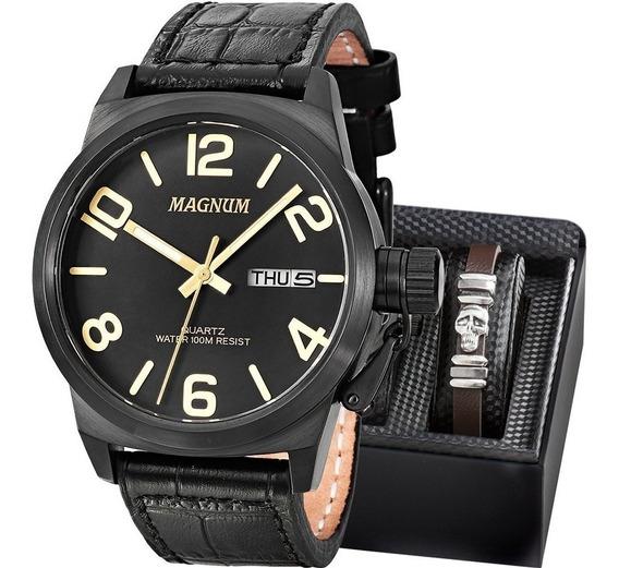 Relógio Magnum Masculino Kit Pulseira Couro Ma33399c