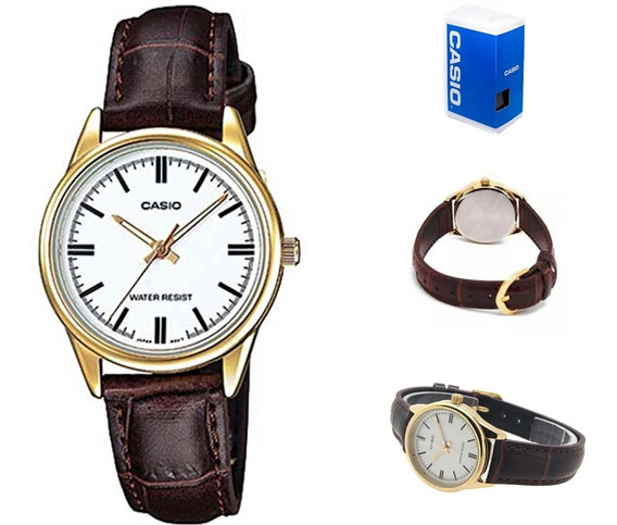 Reloj Casio Ltp-v005gl-7a Mujer Correa Marrón *watchsalas*