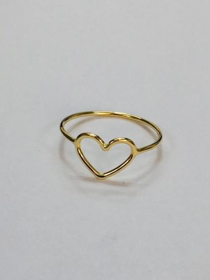 Anel Ouro 18k Coração Feminino