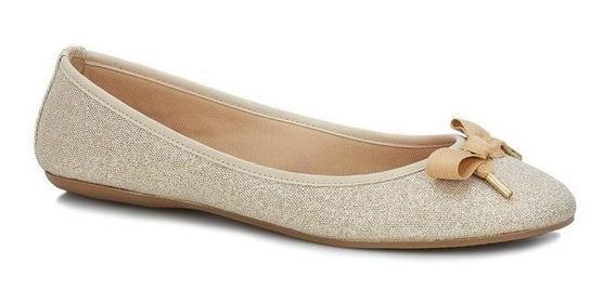 Zapatos De Piso Dorados Con Moño Andrea Flats Ballerinas