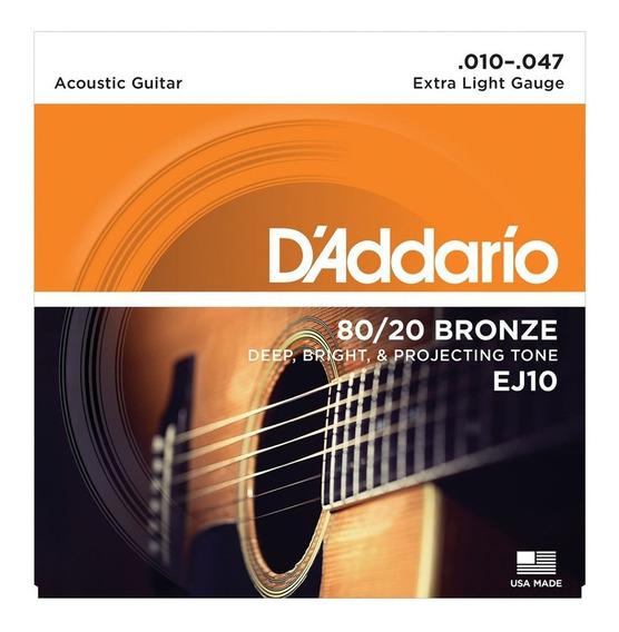 Encordado P/ Guitarra Acustica Daddario Ej10 80/20 Bronce