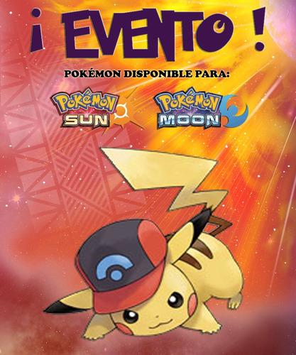 Imagen 1 de 6 de Pikachu Gorra De Ash / Sinnoh - Evento - Pokémon Sol Luna