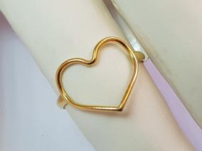 Anel Coração Minimalista Ouro 18k Fio Vazado Delicado