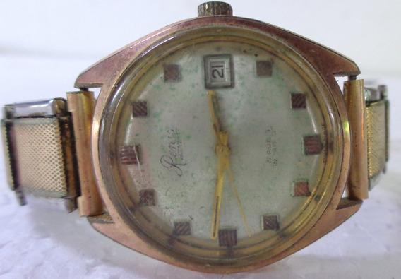 Relógio De Pulso Renis A Corda Pulseira Elástica Dourado