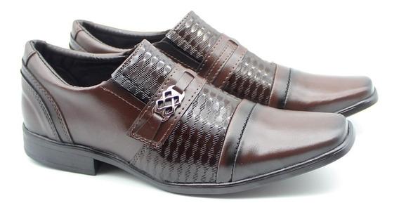 Sapato Social Masculino Bico Quadrado Verniz Cor Café 2423