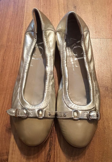 Zapatos Flats Attilio Giustileombruni Italy Dorados Piel!!