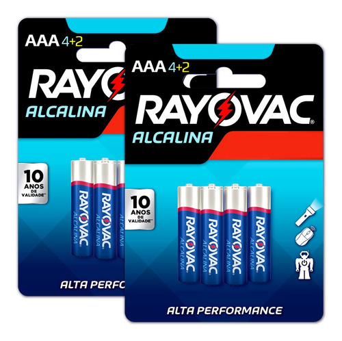 Imagem 1 de 8 de 12 Pilhas Aaa Alcalina Rayovac 2 Cart C/ 6 Unid