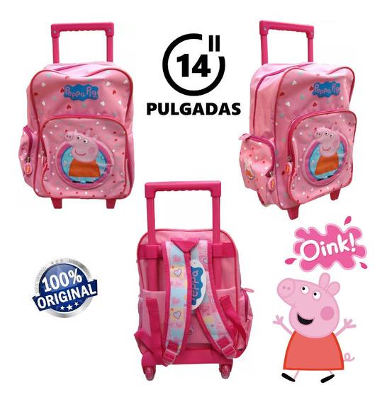Mochila Peppa Pig Con Carro 14 Pulgadas Línea Premium