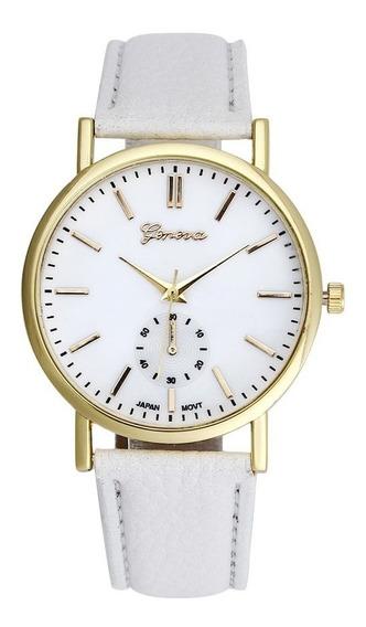 Relógio Feminino Geneva Branco Pulseira De Couro Pu