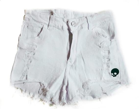 Short Jean Blanco Elastizado T.alto Mujer + Remera De Regalo