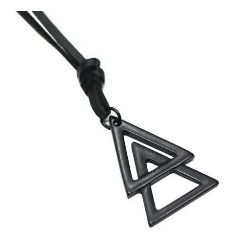 Colar Masculino Triangulo Duplo Prateado
