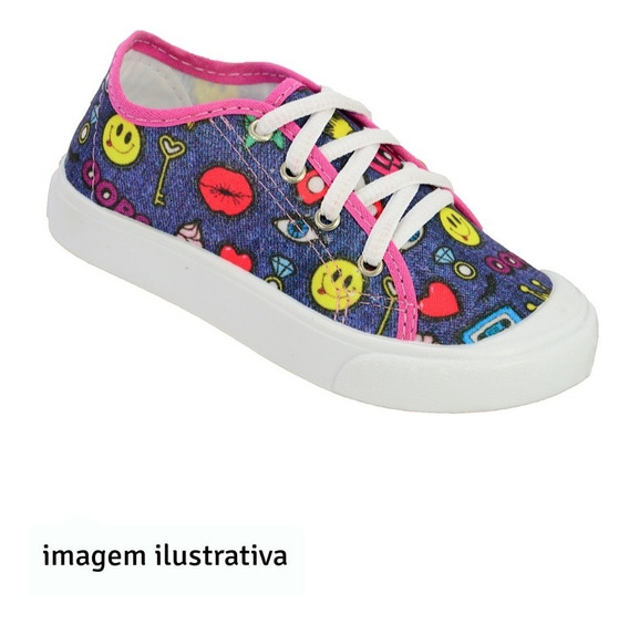 Tênis Infantil Meninas Yuupiii Emojis Feminino