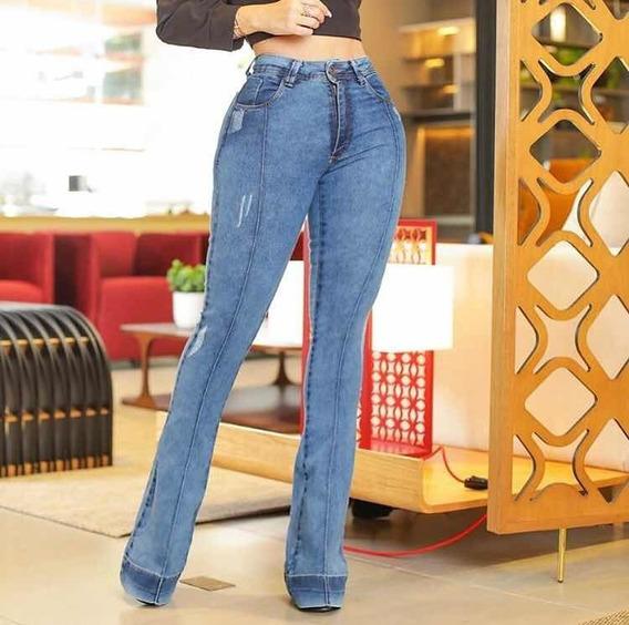 Calça Jeans Flare Diferenciada Levanta Bumbum Estilo Pitbull