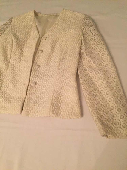Blazer Saco De Mujer Fiesta Con Encaje Blanco Talle Médium