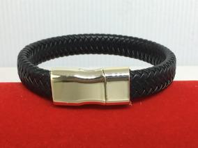 Pulseira Bracelete Couro Preto Fecho Dourado C/ Imã Cod.12