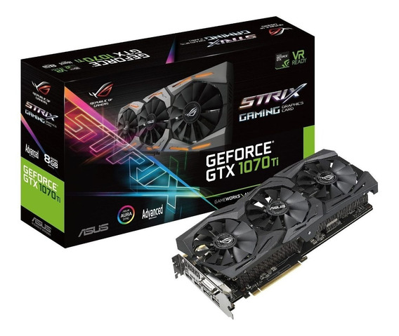 Placa de vídeo Nvidia Asus GeForce GTX 10 Series GTX 1070 ROG-STRIX-GTX1070-O8G-GAMING OC Edition 8GB
