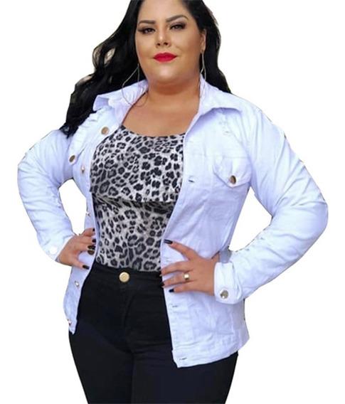 Jaqueta Jeans Feminina Plus Size Branca Botões G1 Ao G5