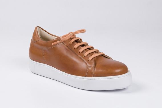 Zapatillas De Cuero Para Hombre Color Marrón - Modelo Milán