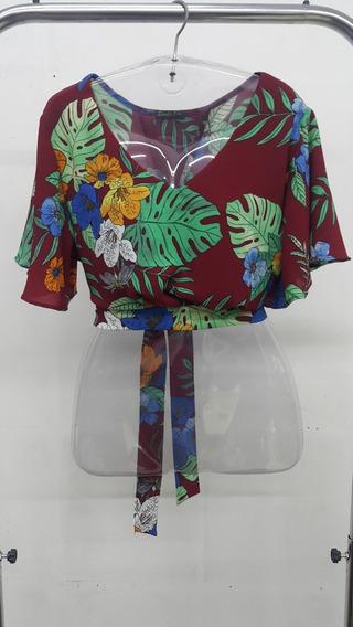 03 Blusas Cropped Floral De Amarrar