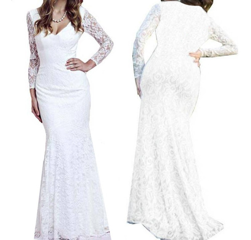 714c10d72fa6 Vestidos De Noiva/ Simples - Vestidos Femeninos Branco Longo com o ...