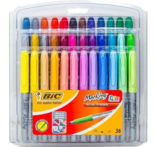 Marcadores Bic Marking De 36 Colores