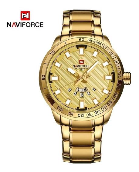 Relógio Masculino Naviforce Dourado Importado De Luxo 2018