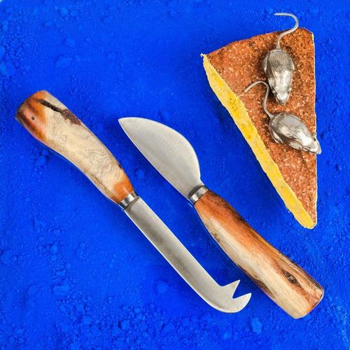 Set 2 Cuchillos Queso Acero Inox Y Madera Piquillin Ariete
