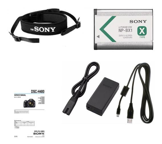 Kit Câmera Sony H400 - Bateria Carregador Cabo Alça Manual