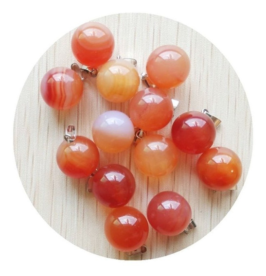 Ágata Rojo Natural Dije Unisex Esfera Tamaño 14mm
