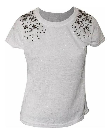 Camiseta Feminina Kit Com 4 Tshirt Pedraria Lancamento Moda