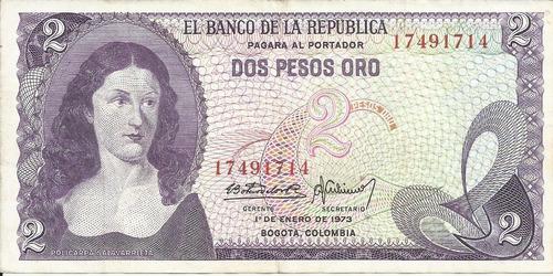 Imagen 1 de 2 de Colombia 2 Pesos Oro 1 De Enero 1973