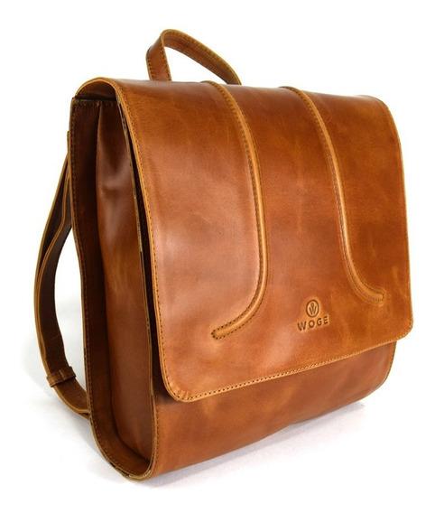 Mochila Backpack Cuadrada Para Dama 100% Piel Genuina Woge