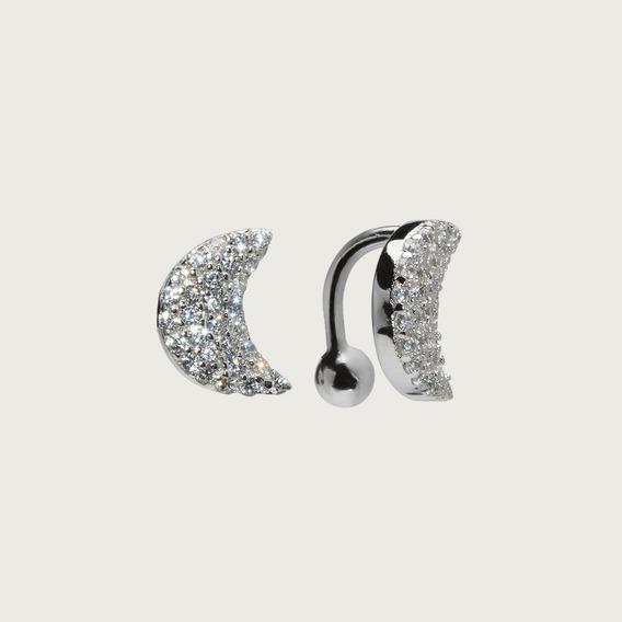 Piercing De Orelha Em Prata Com Zircônias Brancas
