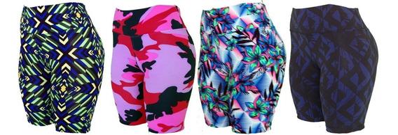 Kit Com 6 Bermuda Lisa Suplex Feminina Fitness Academia