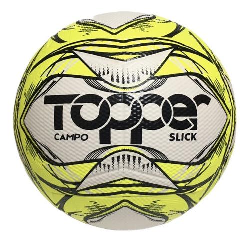Imagem 1 de 2 de Bola Futebol De Campo Oficial Topper Slick Ii Amarelo Neon