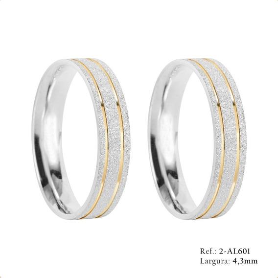 Par De Alianças Em Prata 950 Compromisso Namoro Ouro- Al601