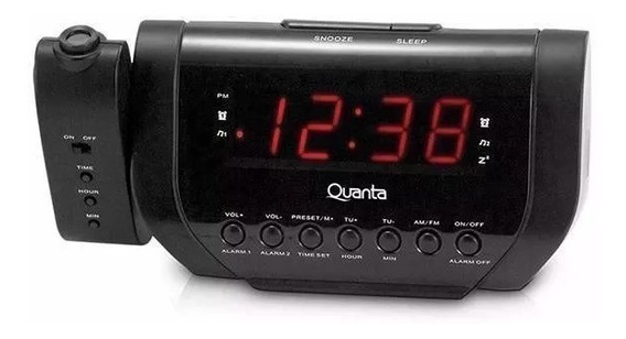Radio Relógio Projetor Preto Original Quanta Qtrar1000 Led