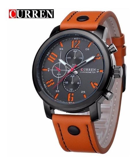 Relógio De Pulso Unisex Curren Esportivo Imperm. Preto