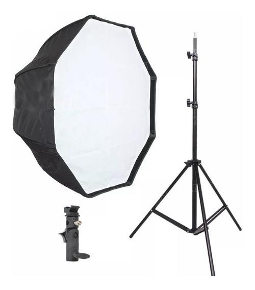 Kit Ilumiação Suporte Flash + Tripe 2m + Octabox 80cm