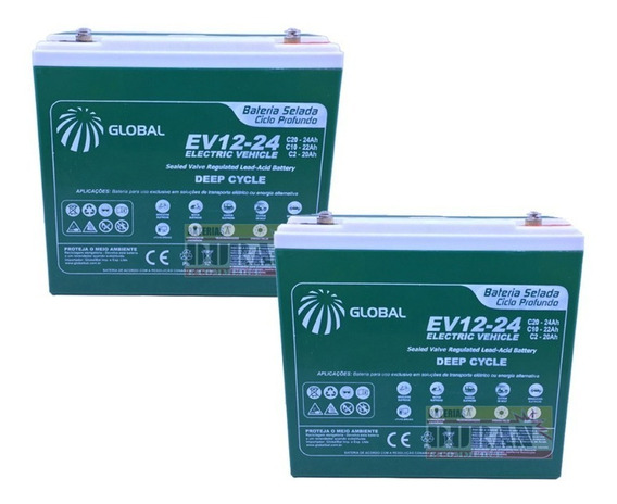 Kit Bateria Gel 2un 24ah 12v Bike Elétrica 6-dzm-20 Global