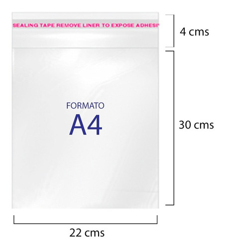 Bolsa Celofán Cierre Adhesivo 22x34 Cms 100 Unds Formato A4