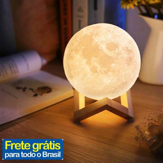 Luminária Abajur Lua Cheia 3d 8cm 2 Cores Usb Touch Oferta