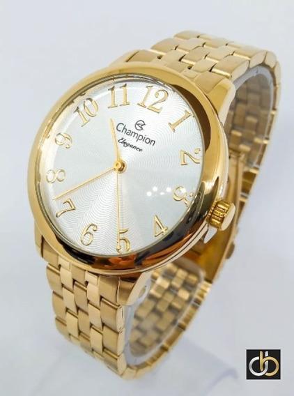Relógio Champion Dourado Luxo Cn26162s Original + Pulseira
